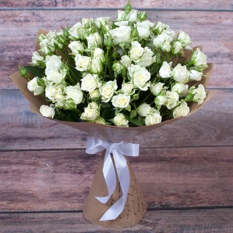 Роза кустовая белая — 25 шт
