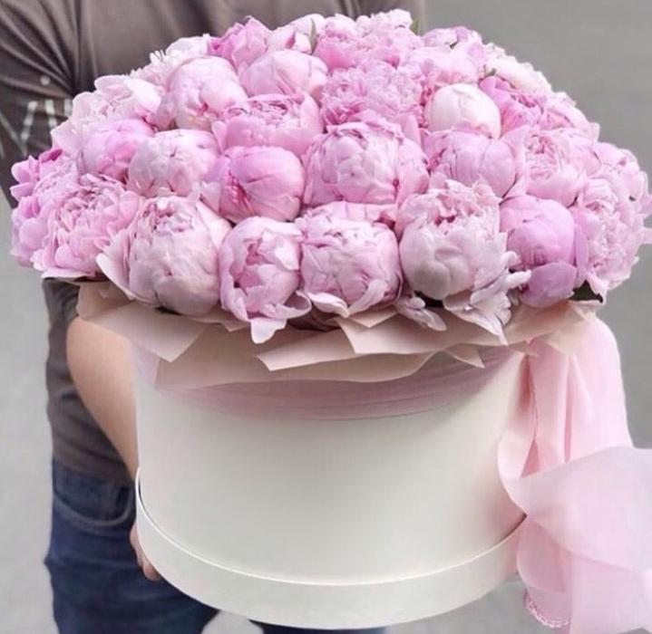 Доставка цветов пионы в коробке